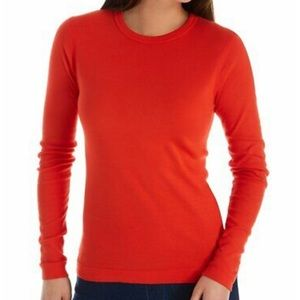 Three Dots bright red thermal long sleeve top
